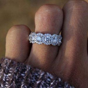925 Silver Princess Cut White Topaz CZ  Ring brand